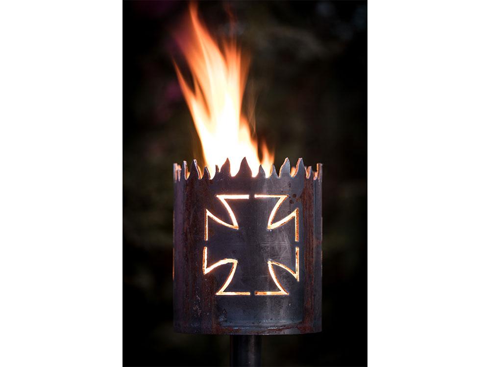 Gartenfackel Biker Cross (Mit Stiel und Brennmaterial)
