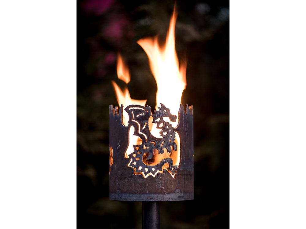 Gartenfackel Drache- inkl. Fackelstiel 120 cm unangespitzt und 1 x Brennmaterial