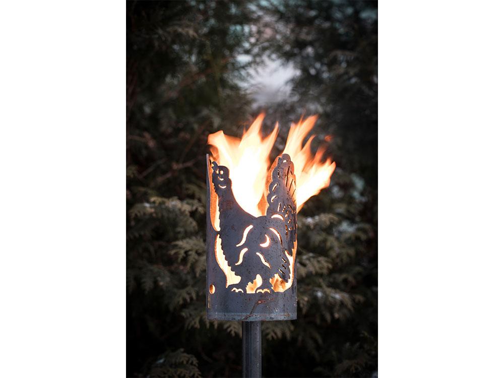 Gartenfackel groß Auerhahn – inkl. Fackelstiel 120 cm unangespitzt und 1 x Brennmaterial