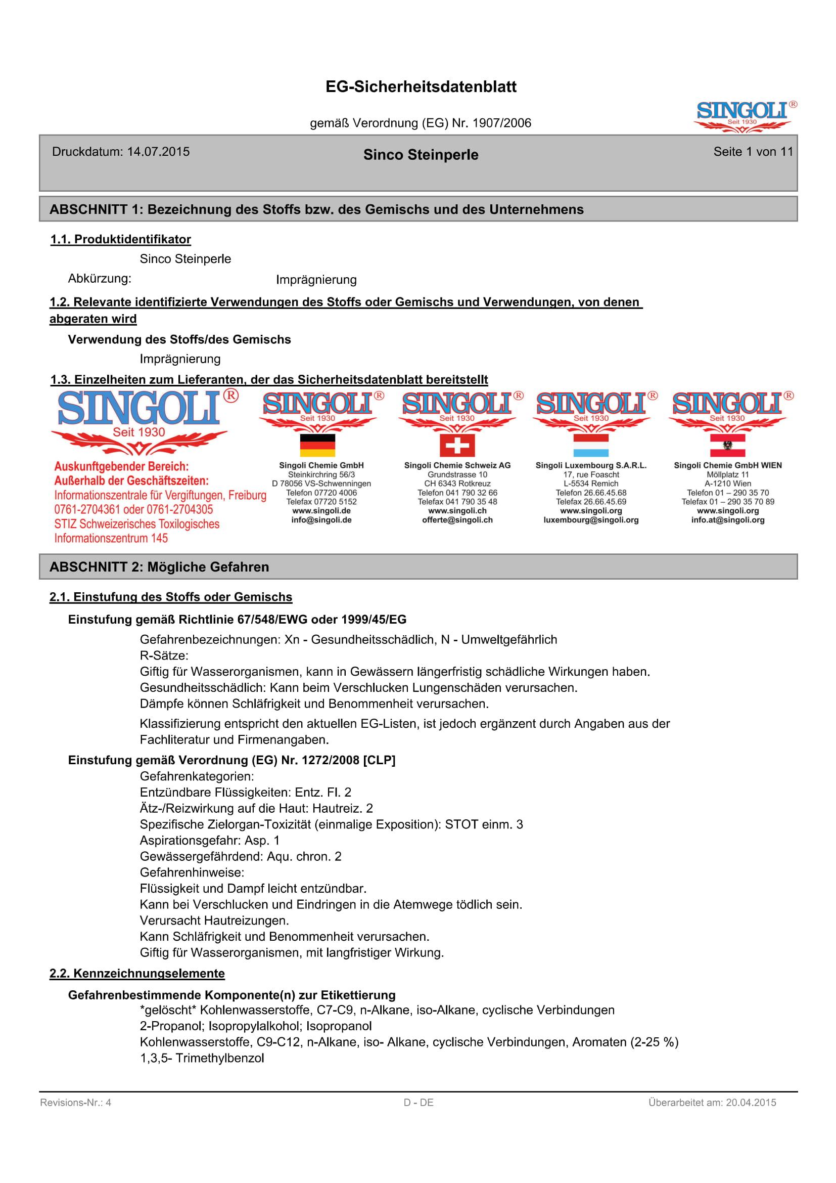 Primero Steinperle, Versiegelung für Innen- und Außenbereich, 1L
