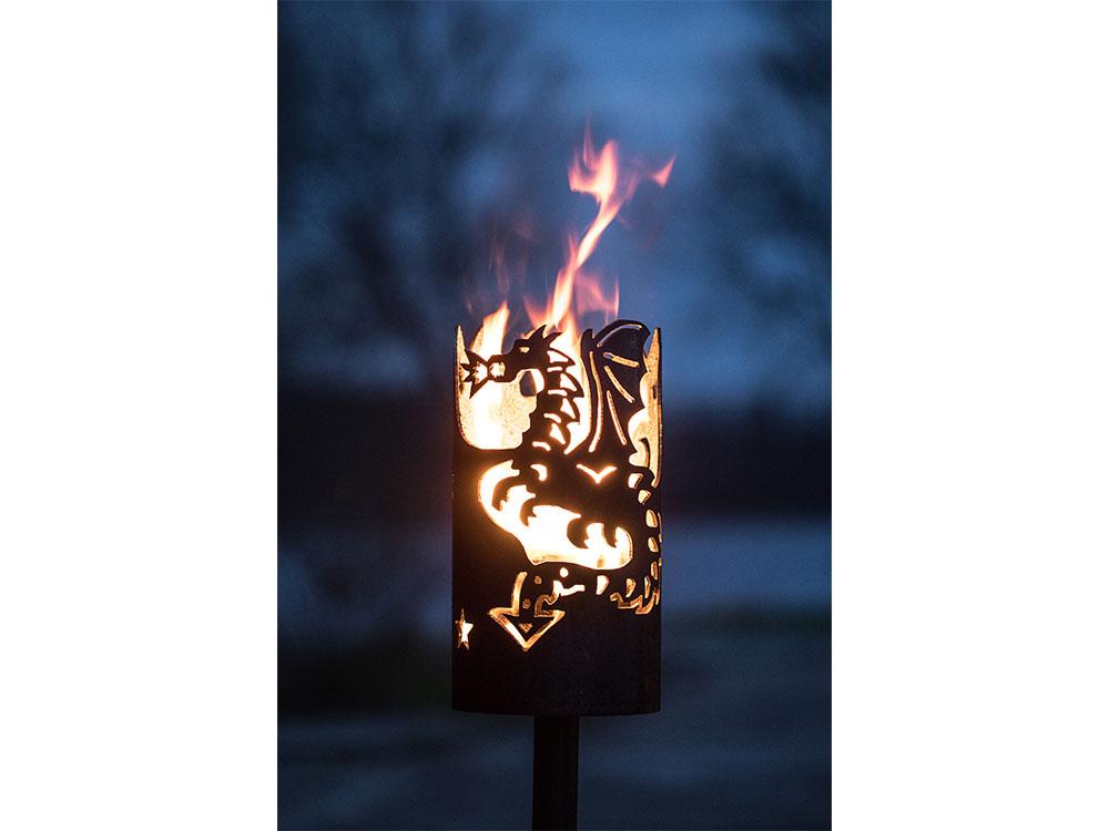 Gartenfackel groß Drache mit Feuer- inkl. Fackelstiel 120 cm unangespitzt und 1 x Brennmaterial